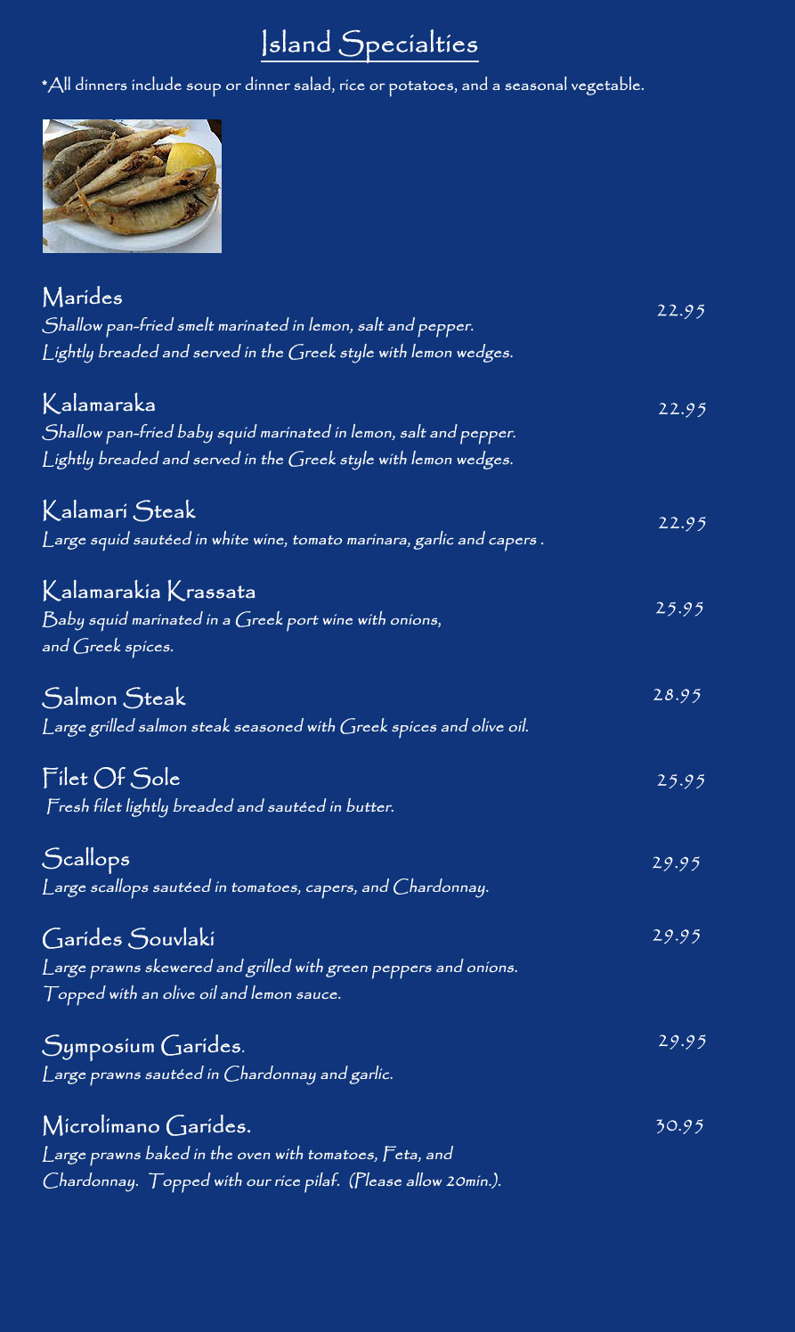 Menu For Symposium Restaurant